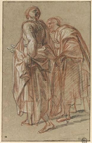 Deux figures drapées, debout
