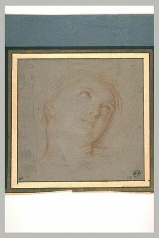Une tête de femme, les yeux levés au ciel