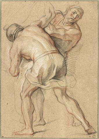 Deux soldats soulevant la statue d'Apollon