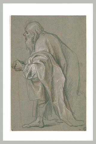 Un vieillard drapé, à demi agenouillé, tourné vers la gauche