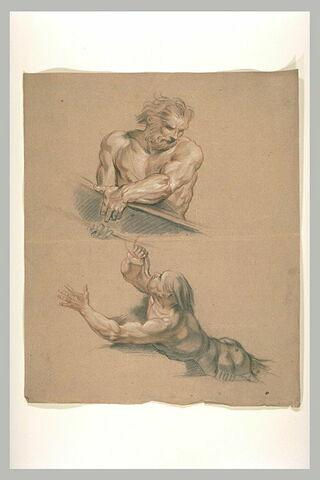 Homme, vu en buste, portant une pièce de bois ; un triton