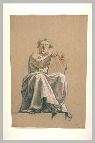 Un prophète assis tenant des tablettes sur les genoux