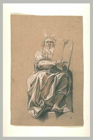 Moïse assis, montrant de la main droite les Tables