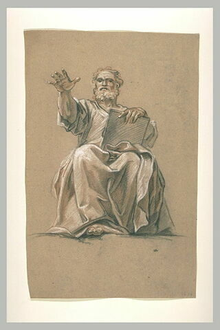 Un prophète assis, levant le bras droit