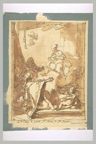 La Vierge apparaissant sur des nuages à sainte Anne et à sainte Thérèse