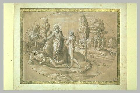 La création d'Eve, le Péché originel, Adam et Eve chassés du Paradis