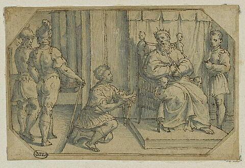 Un roi agenouillé présentant sa couronne à un souverain trônant