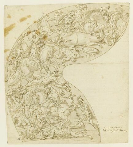 Timbre d'armet décoré d'une bataille de cavaliers et fantassins antiques