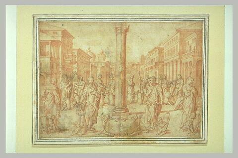 Figures allégoriques sur une place ornée d'une colonne