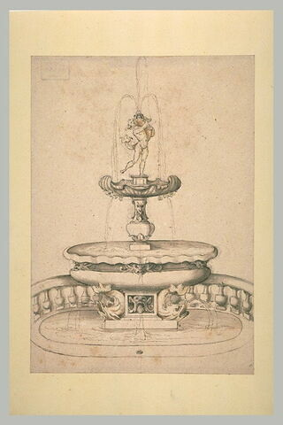 Projet d'une fontaine surmontée d'une statue tenant un dauphin et, à la base, deux dauphins