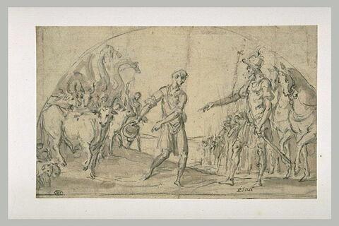 Esaü rencontre les troupeaux offerts par Jacob