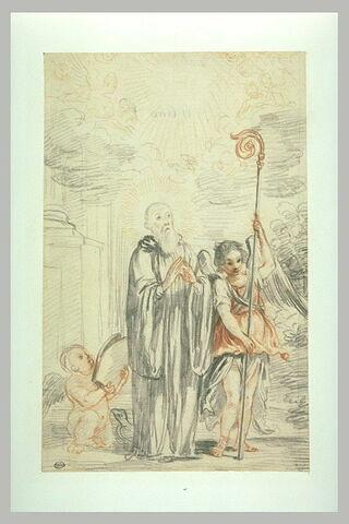 Saint Benoît debout les mains jointes, et deux anges