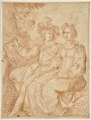Couple enlacé sous un arbre, ou Angélique et Médor (?)