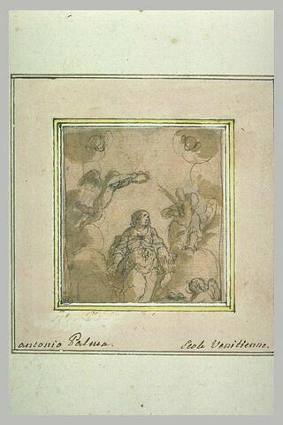 Sainte Agathe sur des nuages, couronnée par un ange