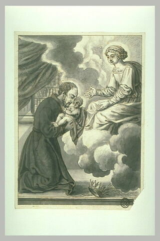 Jésuite embrassant l'Enfant