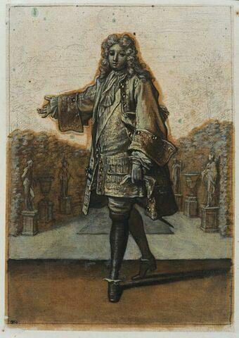 Un personnage marchant vers la gauche et tendant le bras droit