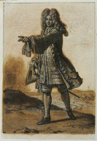 Un personnage debout tenant son chapeau et avançant le bras gauche