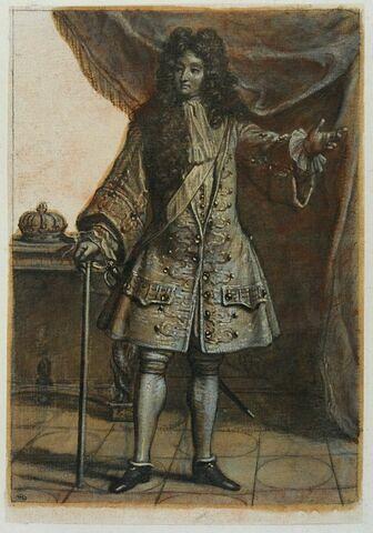 Louis XIV debout tenant une canne et avançant le bras gauche