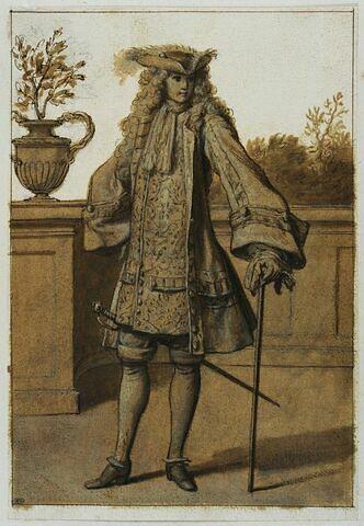 Un personnage debout, de face, tenant une canne