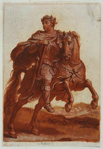 Vitellius à cheval courant vers la droite