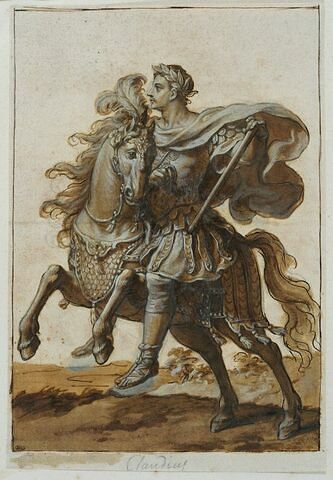 Claudius à cheval courant vers la gauche