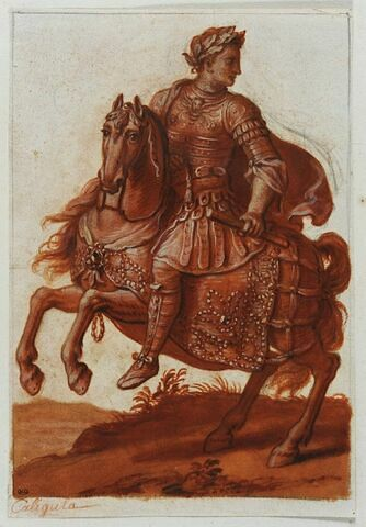 Caligula à cheval regardant à droite courant vers la gauche