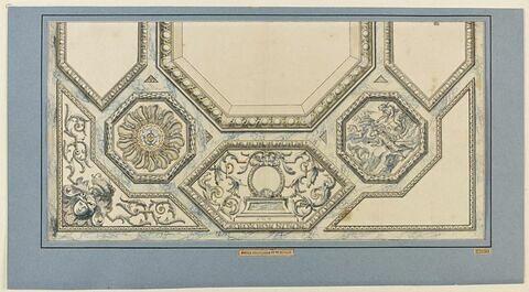 Ornements d'un plafond, dont une scéne mythologique dans un octogone