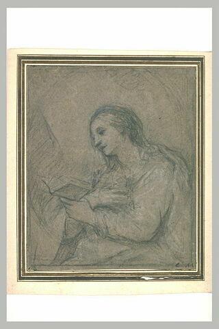 La Madeleine assise, tournée vers la gauche et lisant