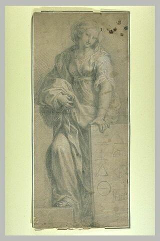 Femme debout tenant une tablette : la Géométrie