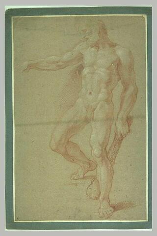 Hercule nu, debout, tenant sa massue dans la main gauche