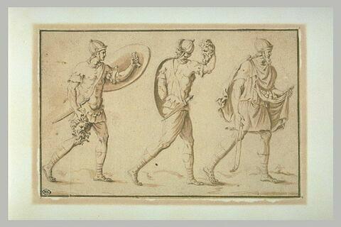 Trois guerriers antiques portant chacun la tête d'un ennemi