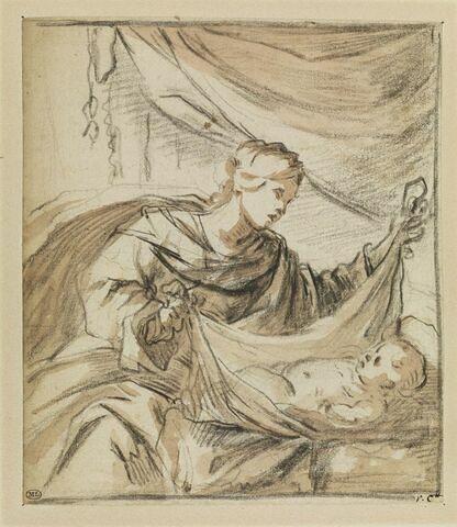 La Vierge assise soulève le voile qui couvre l'Enfant