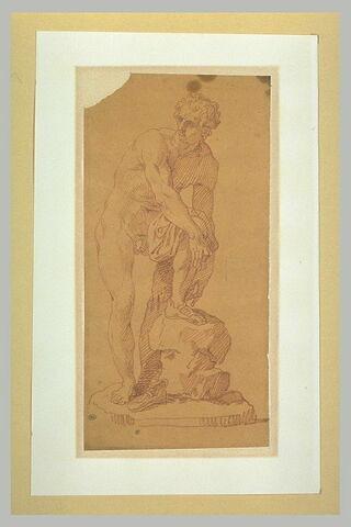 Homme nu enlevant ses sandales, étude d'après l'antique