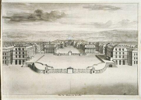 Vue du château de Versailles, du côté de l'avenue