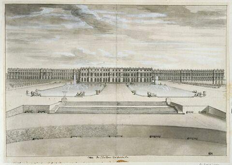 Vue du château de Versailles, du côté du parc