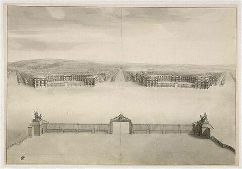 Vue des écuries du roi, à Versailles
