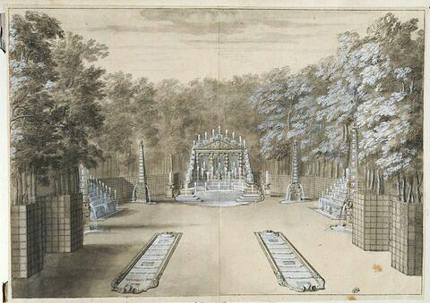 Vue de l'Arc de Triomphe près de l'Allée d'eau, à Versailles