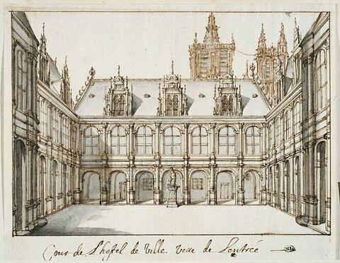 Intérieur de la cour de l'Hôtel de Ville de Paris