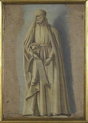 Saint Ignace tenant un rouleau contenant les règles de son ordre