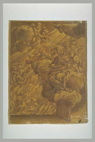Vierge à l'Enfant sur des nuages, regardant le purgatoire