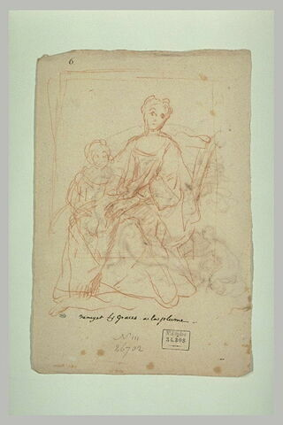 Une femme assise, et son enfant