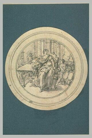 Un ange montrant un blason à une jeune femme assise dans un fauteuil