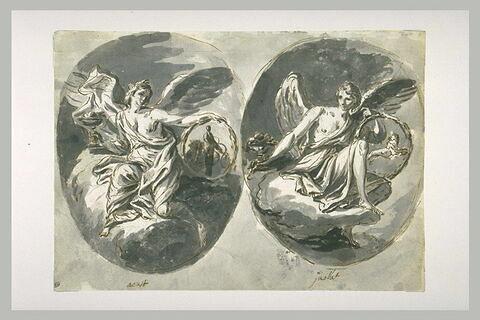 Figures allégoriques des signes du zodiaque : la vierge et le lion