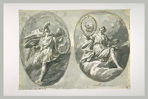 Figures allégoriques des signes du zodiaque : le bélier et le taureau
