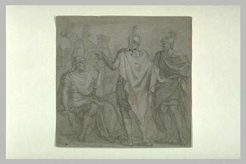 Trois guerriers romains discutant