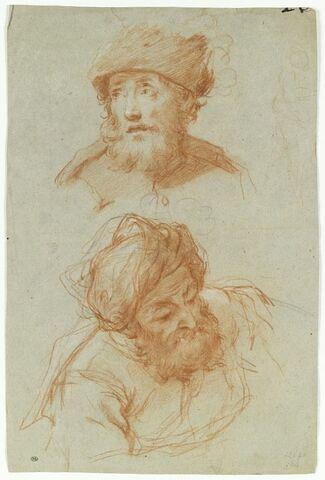 Tête d'homme barbu portant une toque, et tête d'homme portant un turban