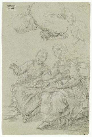 Deux femmes assises, buste de femme, et demi-figure d'homme, les mains jointes