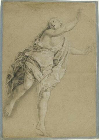 Une nymphe à demi nue, fuyant vers la droite, étude pour Syrinx