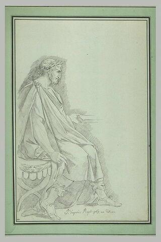Empereur romain assis, de profil vers la droite