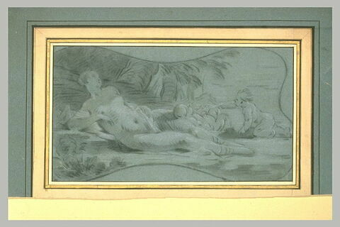 Vénus couchée, et deux amours jouant